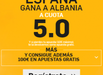 SúperCuota – España gana a Albania a 5.0 ( Enlace -> https://goo.gl/C5gPDk )